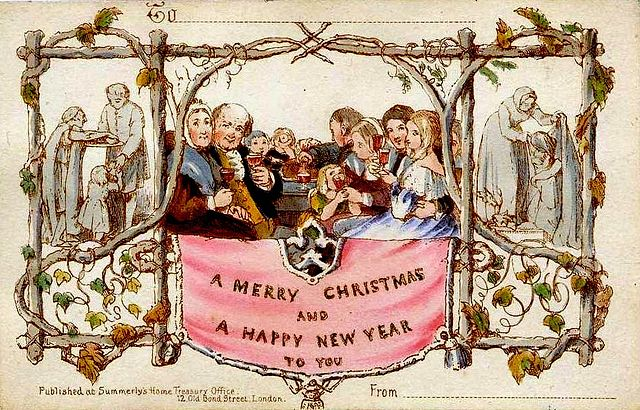 Kartka świąteczna. Pierwsza kartka świąteczna. Sir Henry Cole #kartkazesłowami