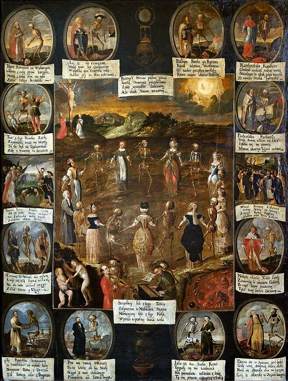 """na zdjęciu obraz Taniec śmierci Franciszka Lekszyckiego (XVII w.). Motyw """"tańca śmierci"""", popularny w średniowieczu, pokazywał, że wobec śmierci, zwłaszcza w takich sytuacjach jak epidemia, wszyscy ludzie są sobie równi."""