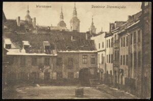 Pocztówka, Dzielnica Staromiejska, Warszawa : Wydawnictwo K. Wojutyńskiego, [191-] (ze zbiorów BN)