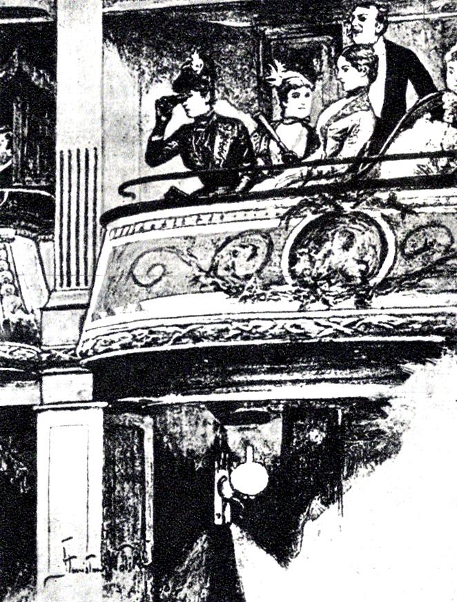 Loża pierwszego piętra, ilustracja Stanisława Wolskiego do Lalki. Izabela Łęcka