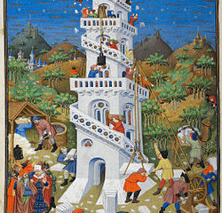 Budowa wieży Babel, miniatura z Godzinek księcia Bedford